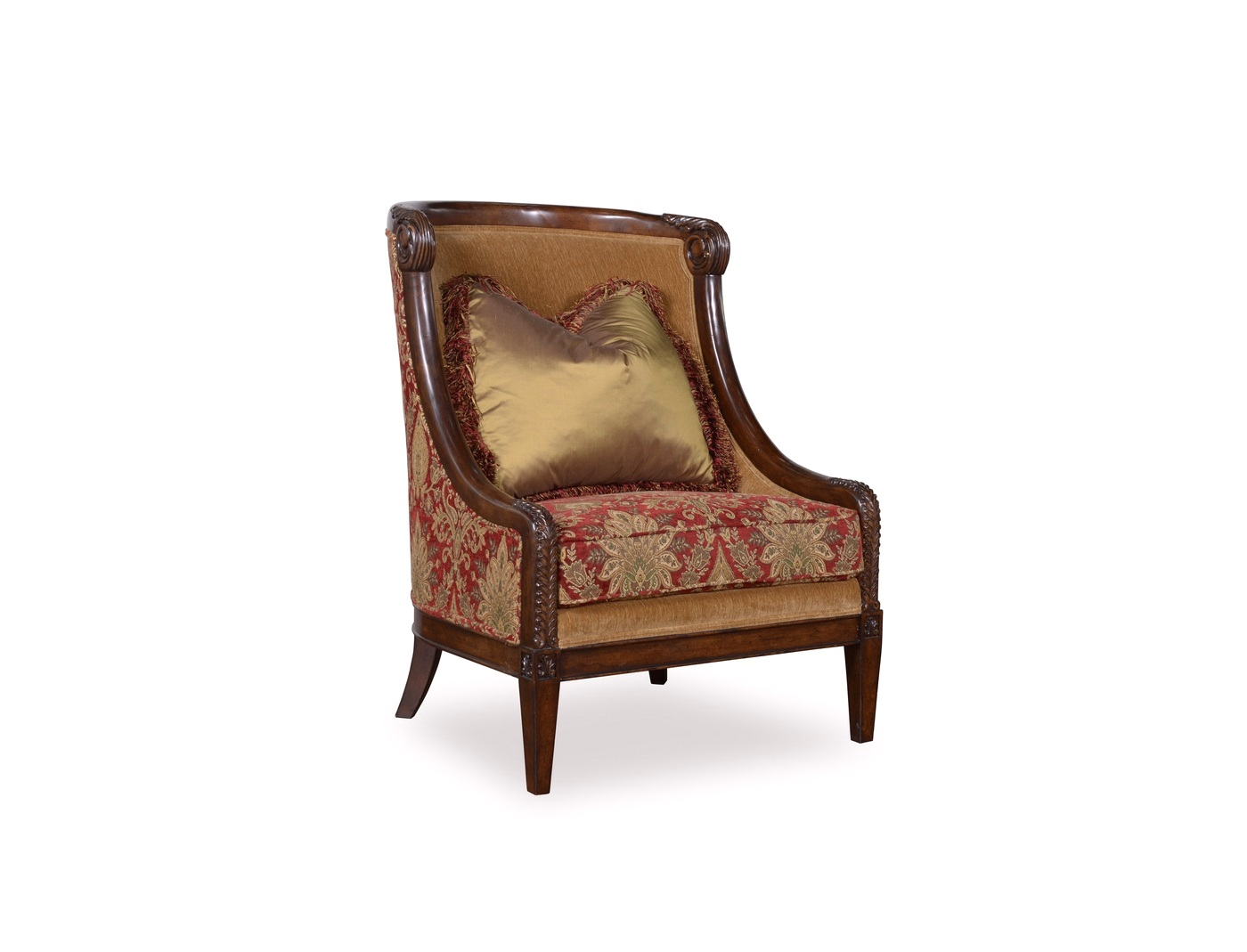 damask accent chair leather dining chairs walnut legs giovanna caramel with red and wood accents