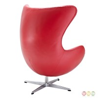 Glove Mid-century Modern Italian Leather Lounge Chair, Red