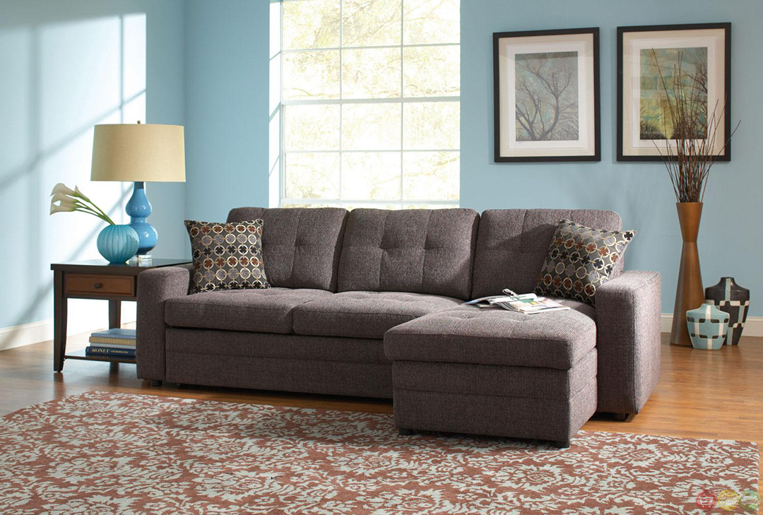 Gray Button Tufted Convertable Sectional Sleeper Sofa w