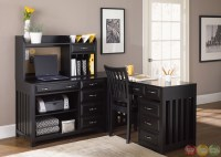 Hampton Bay Black Finish L Shaped Home Office Desk