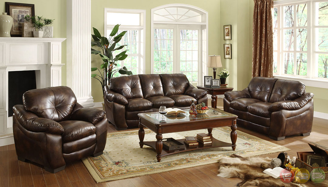 Hastings Traditional Rustic Brown Living Room Set with