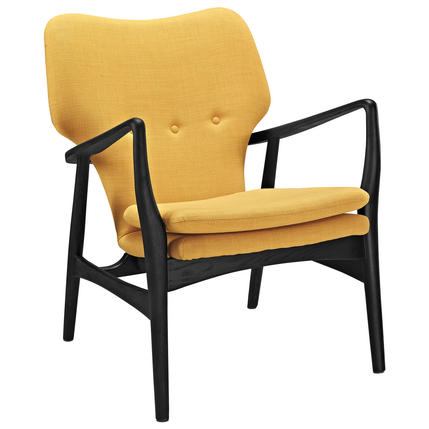 yellow upholstered accent chair baby 1 year old heed modern lounge with button accents