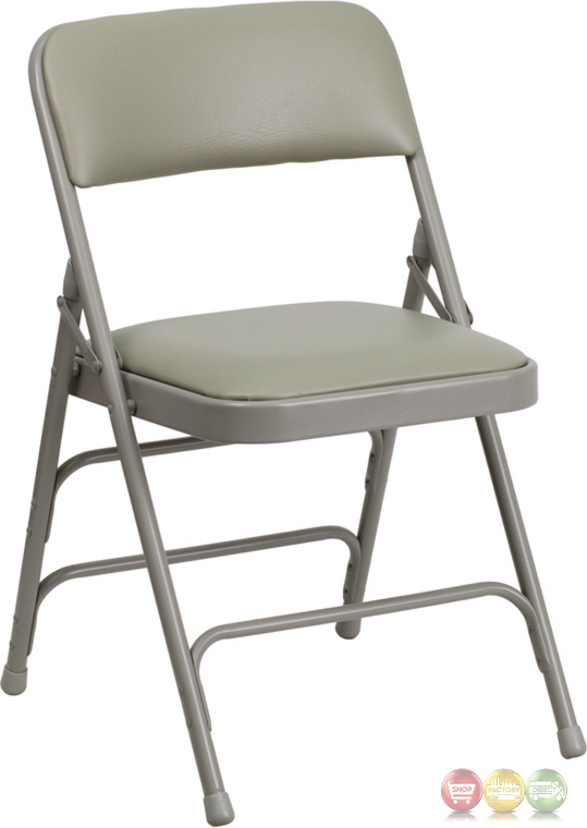Hercules Double Hinged Gray Vinyl Upholstered Metal
