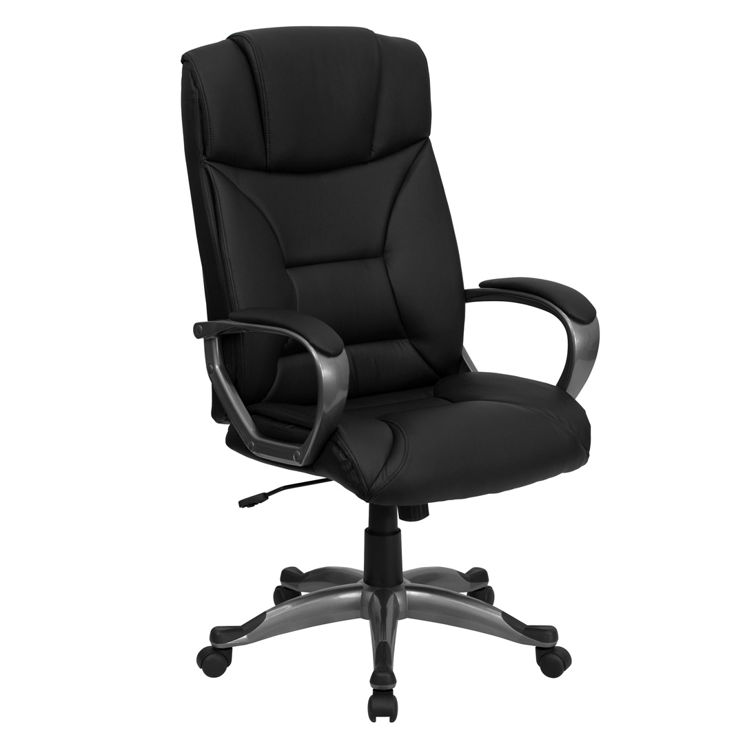 office chair executive leather glass table with white chairs high back black bt 9177 bk gg