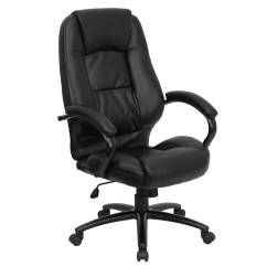 Black Leather Office Chair High Back Party Covers Walmart Executive Go 710 Bk Gg