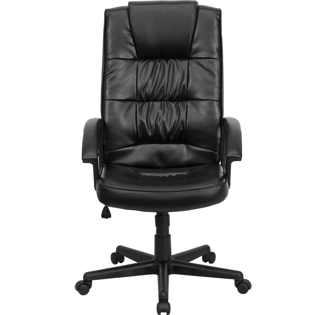black leather office chair high back replacement wood legs executive go 7102 gg