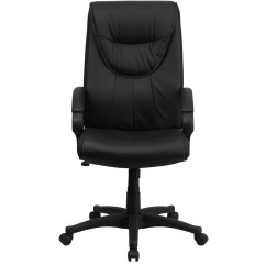 Swivel Chair High Back Bedroom Upcycling Black Leather Executive Office Bt