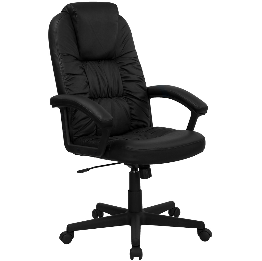 Black Swivel Chair High Back Black Leather Executive Swivel Office Chair Bt