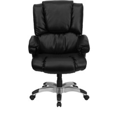 Black Leather Office Chair High Back Maitland Smith Chairs Overstuffed Executive