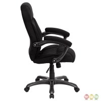 High Back Black Microfiber Upholstered Contemporary Office ...