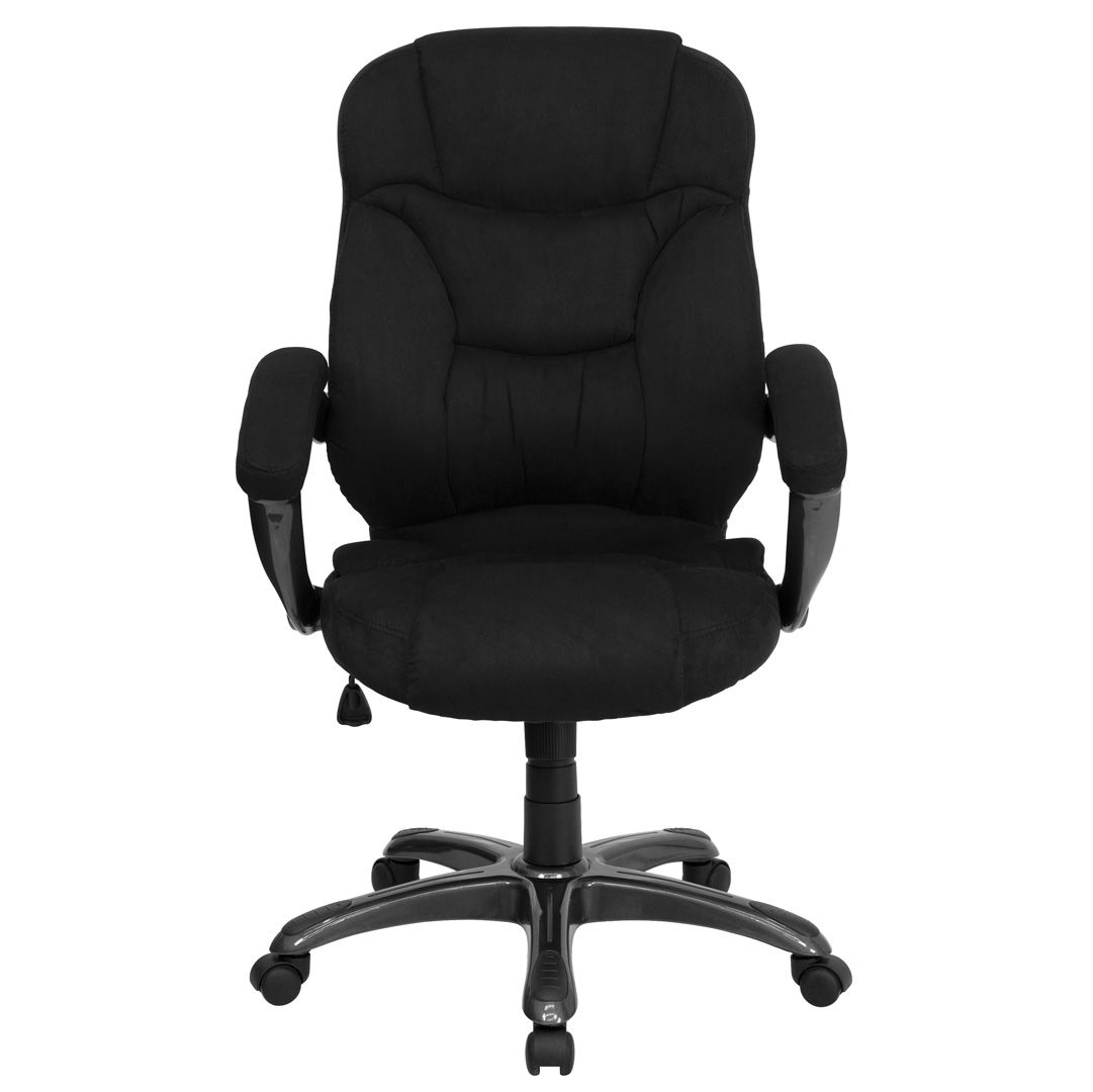 Microfiber Office Chair High Back Black Microfiber Upholstered Contemporary Office