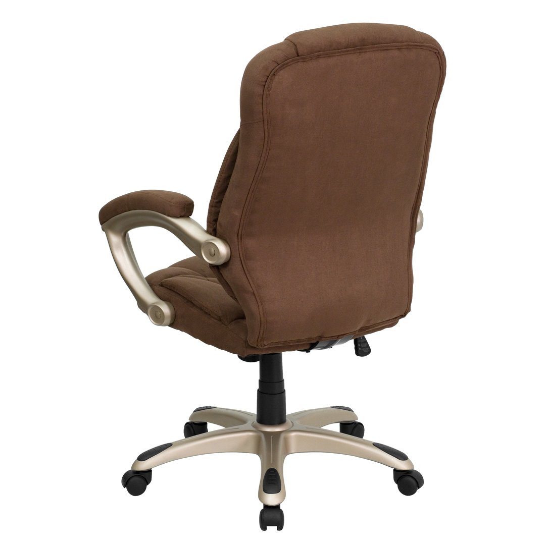 Contemporary Office Chairs High Back Brown Microfiber Upholstered Contemporary Office