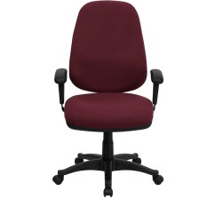 Computer Chair Back Chairs For Worship High Burgundy Fabric Ergonomic With