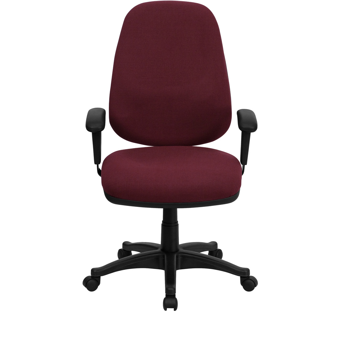 Cloth Computer Chair High Back Burgundy Fabric Ergonomic Computer Chair With