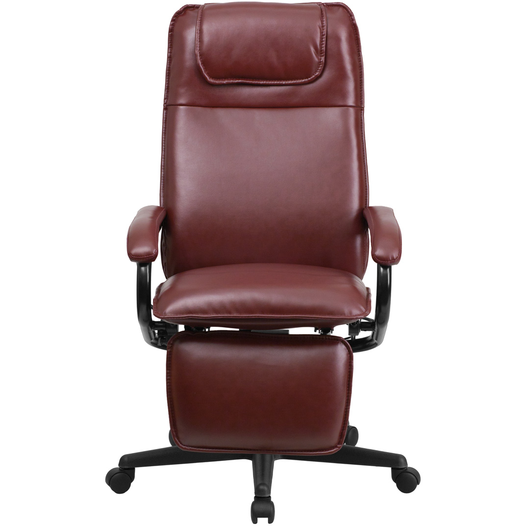 Burgundy Office Chair High Back Burgundy Leather Executive Reclining Office