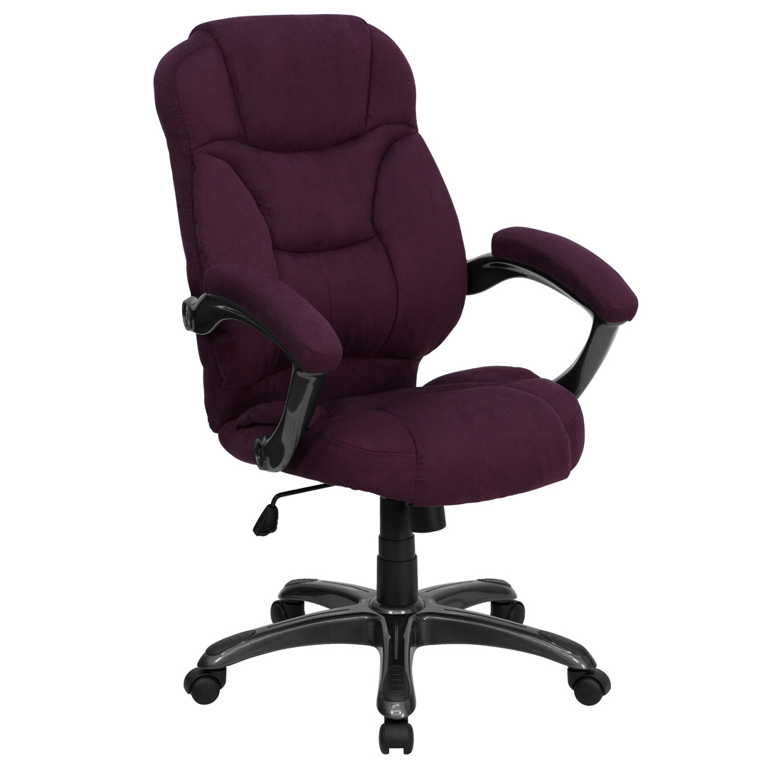 Contemporary Office Chairs High Back Grape Microfiber Upholstered Contemporary Office