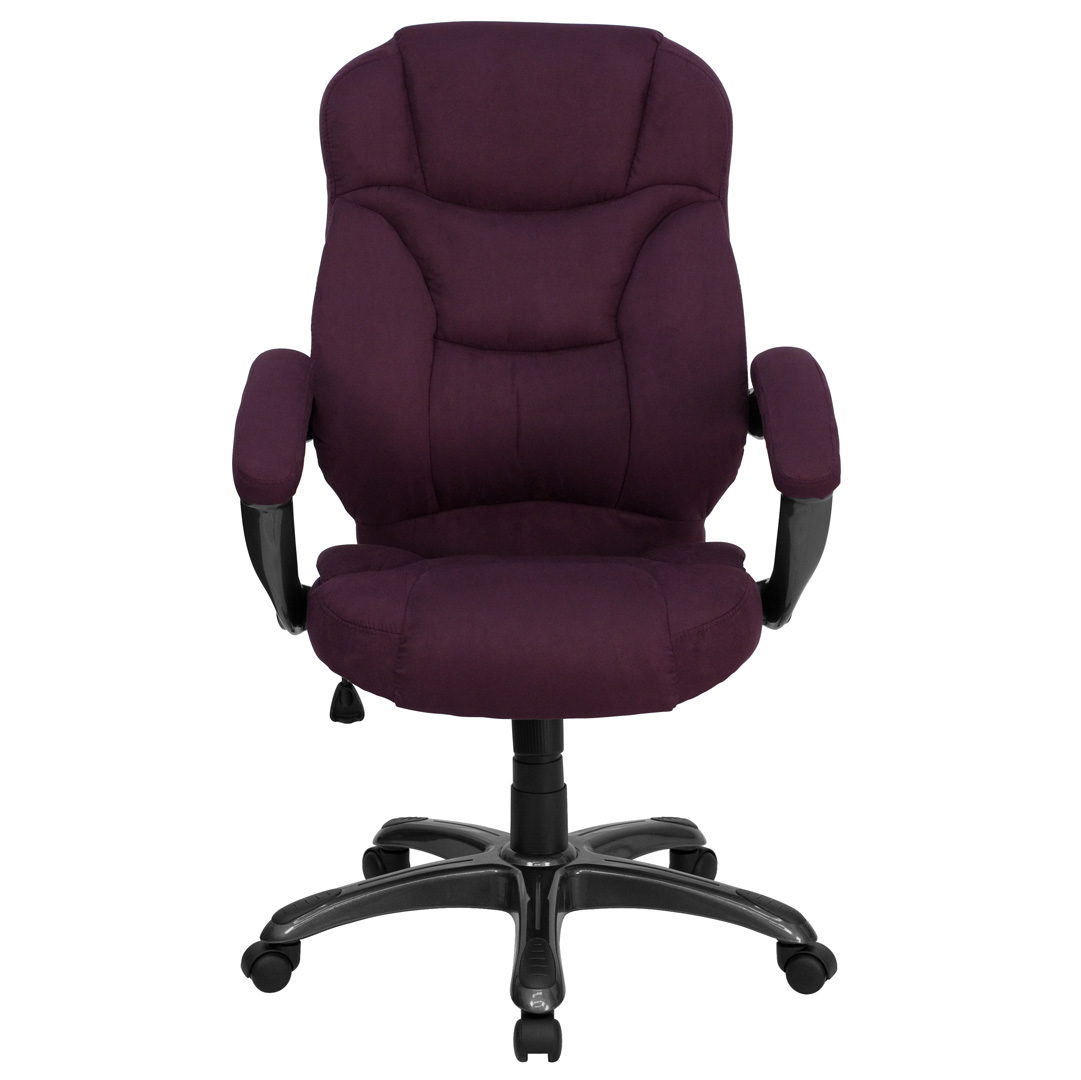 Microfiber Office Chair High Back Grape Microfiber Upholstered Contemporary Office