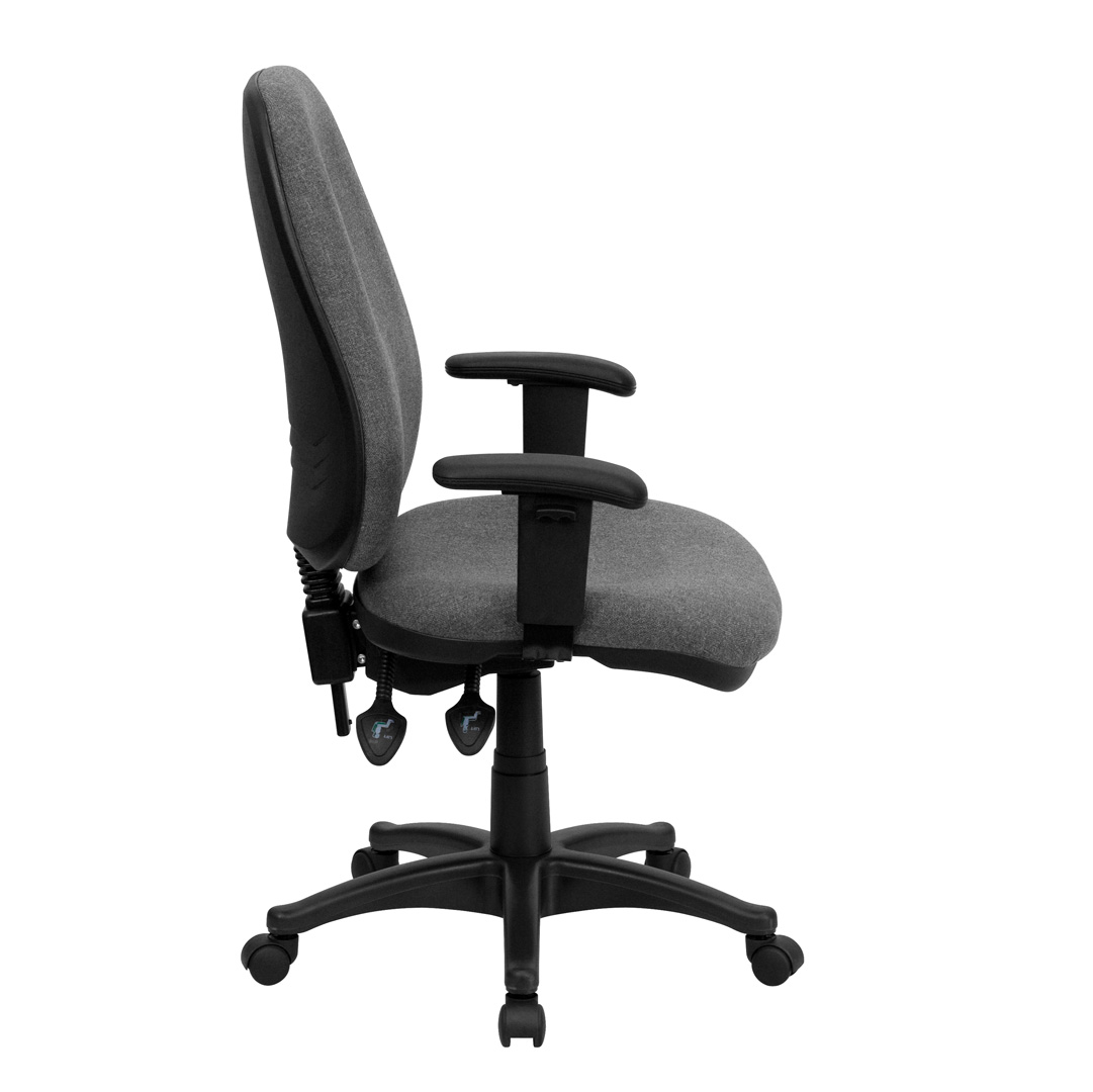 office chair with adjustable arms oversized bean bag chairs cheap high back gray fabric ergonomic computer height