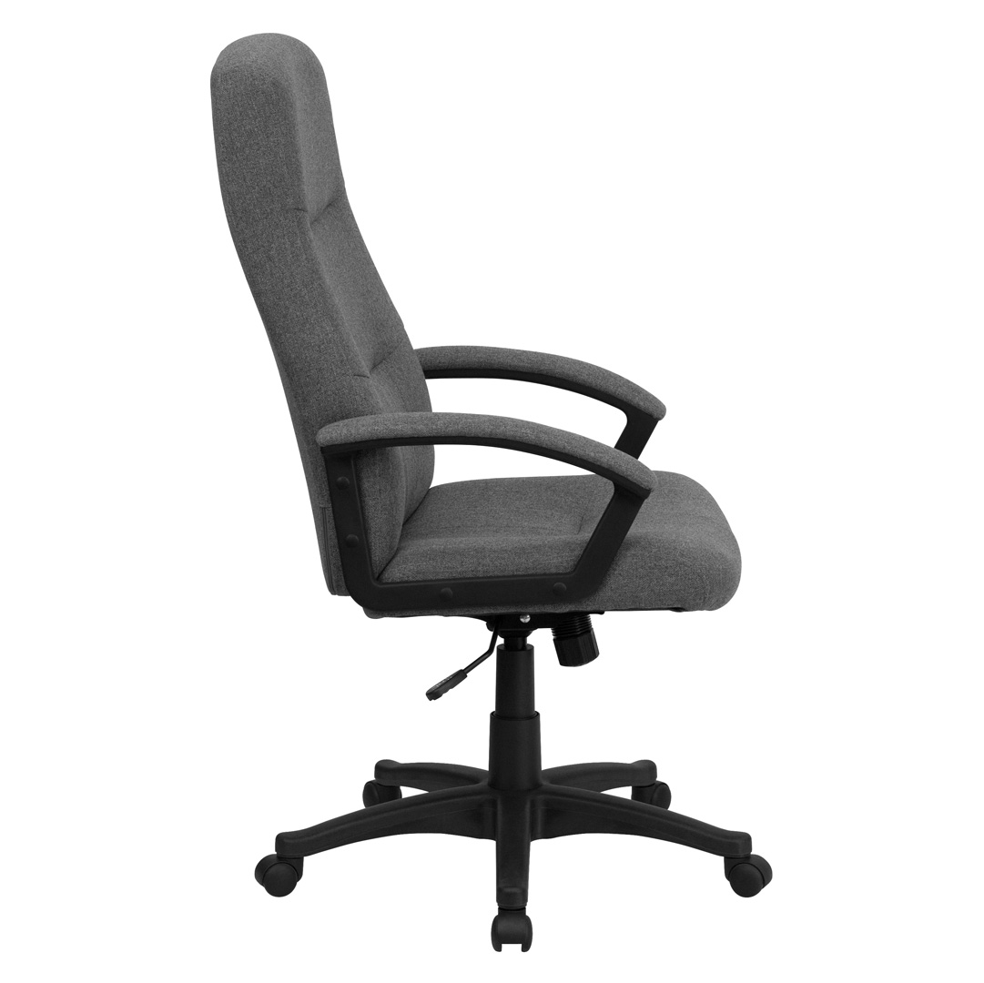 grey fabric swivel office chair safety first booster high back gray executive bt