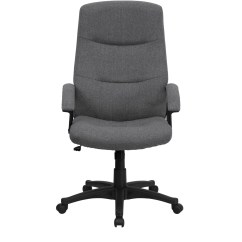 Grey Fabric Swivel Office Chair Adams Manufacturing Adirondack Chairs High Back Gray Executive Bt