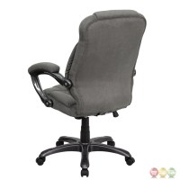 High Back Gray Microfiber Upholstered Contemporary Office ...