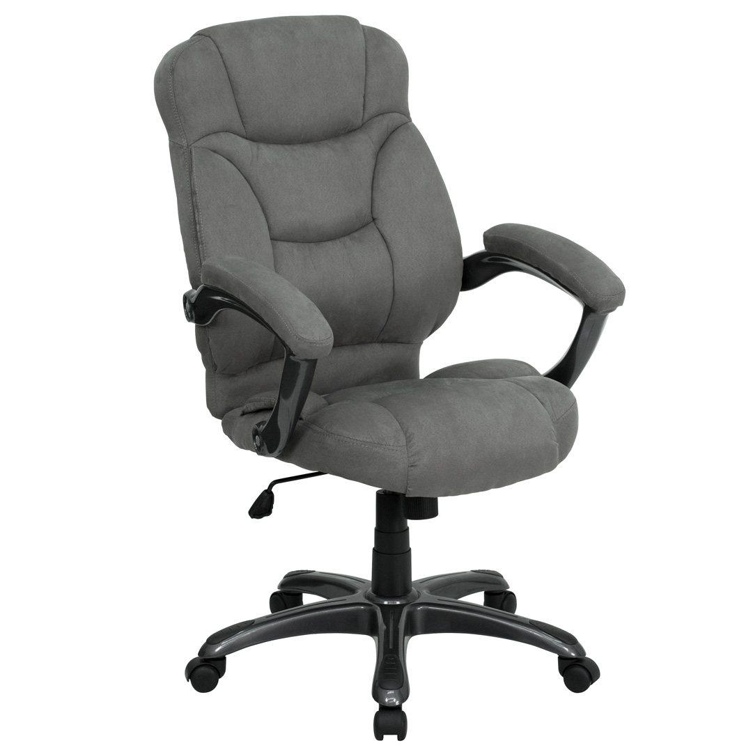 Microfiber Office Chair High Back Gray Microfiber Upholstered Contemporary Office
