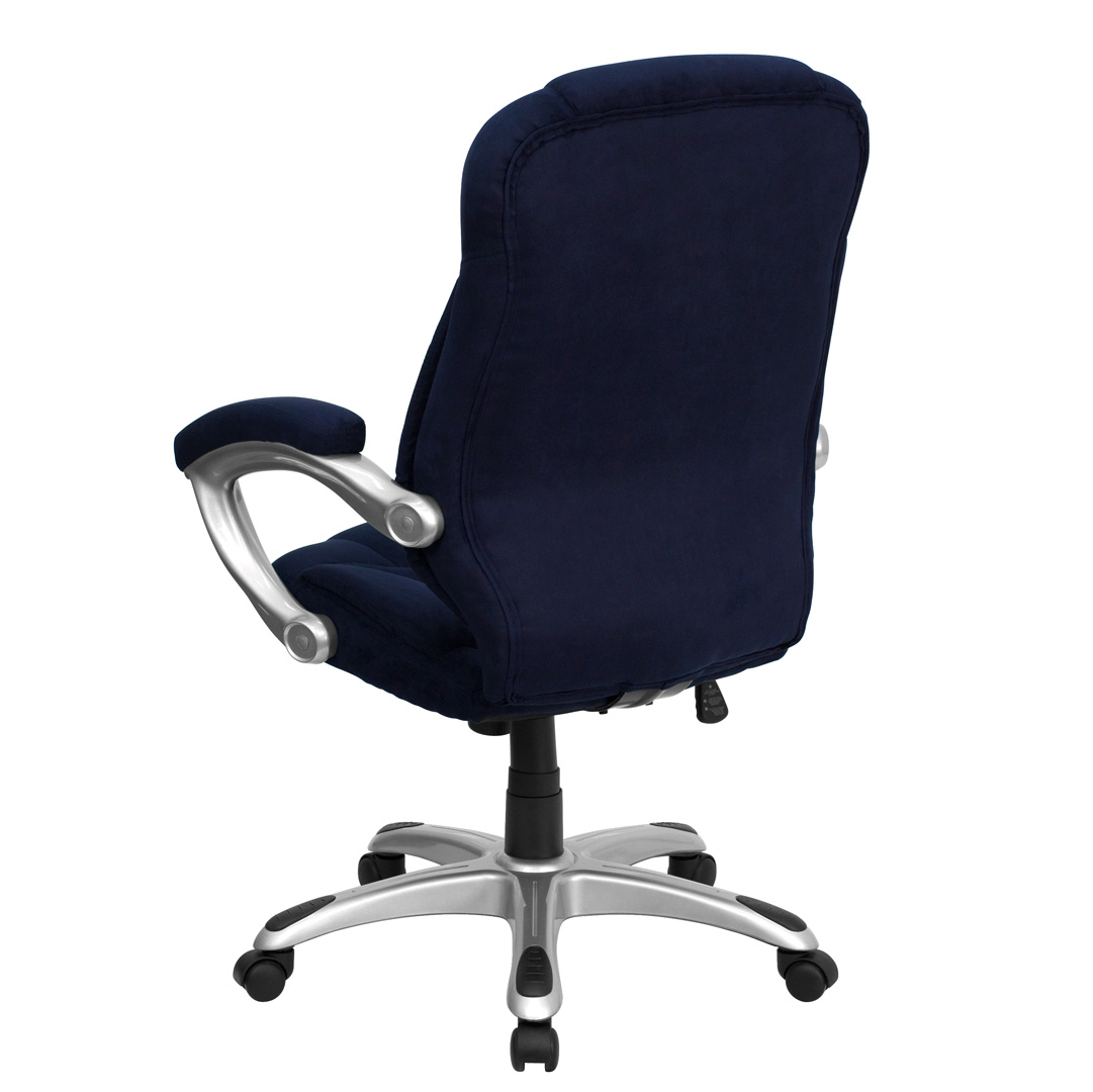 navy office chair universal cover high back blue microfiber upholstered contemporary
