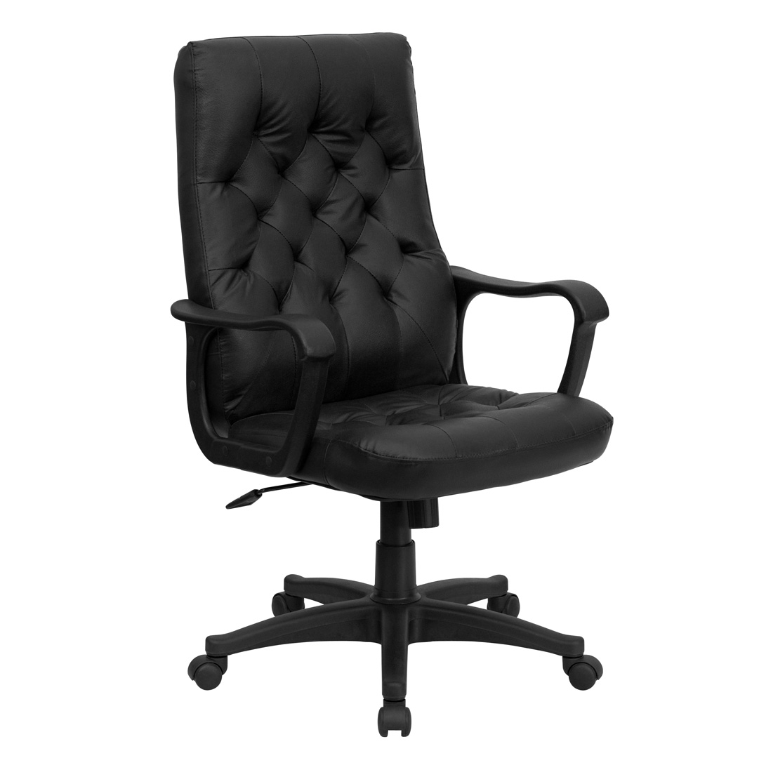 Black Swivel Chair High Back Traditional Black Leather Executive Swivel