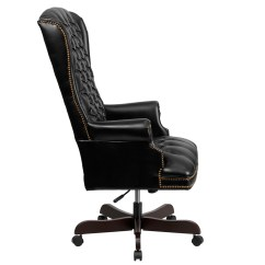 Bassett Office Chair Covers Victoria Bc High Back Traditional Tufted Black Leather Executive Ci-360-bk-gg