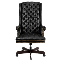 Office Chair Executive Leather Wooden Chairs On Wheels High Back Traditional Tufted Black