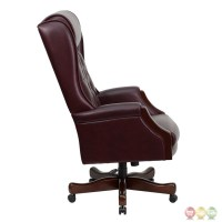 High Back Traditional Tufted Burgundy Leather Executive ...