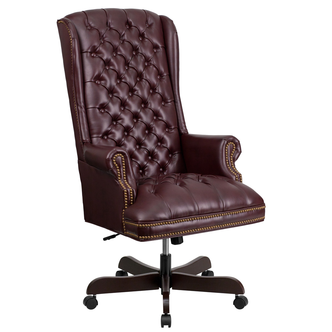 Burgundy Office Chair High Back Traditional Tufted Burgundy Leather Executive