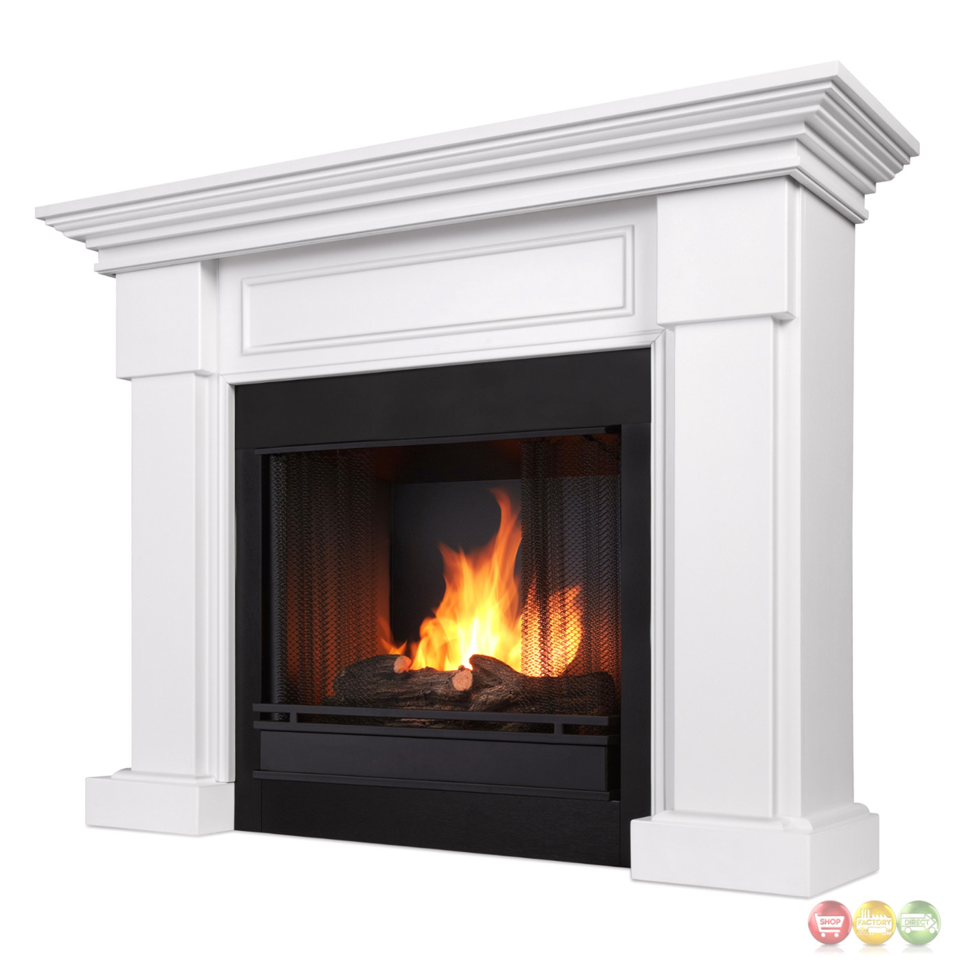 Hillcrest Ventless Gel Fuel Fireplace In White With Logs