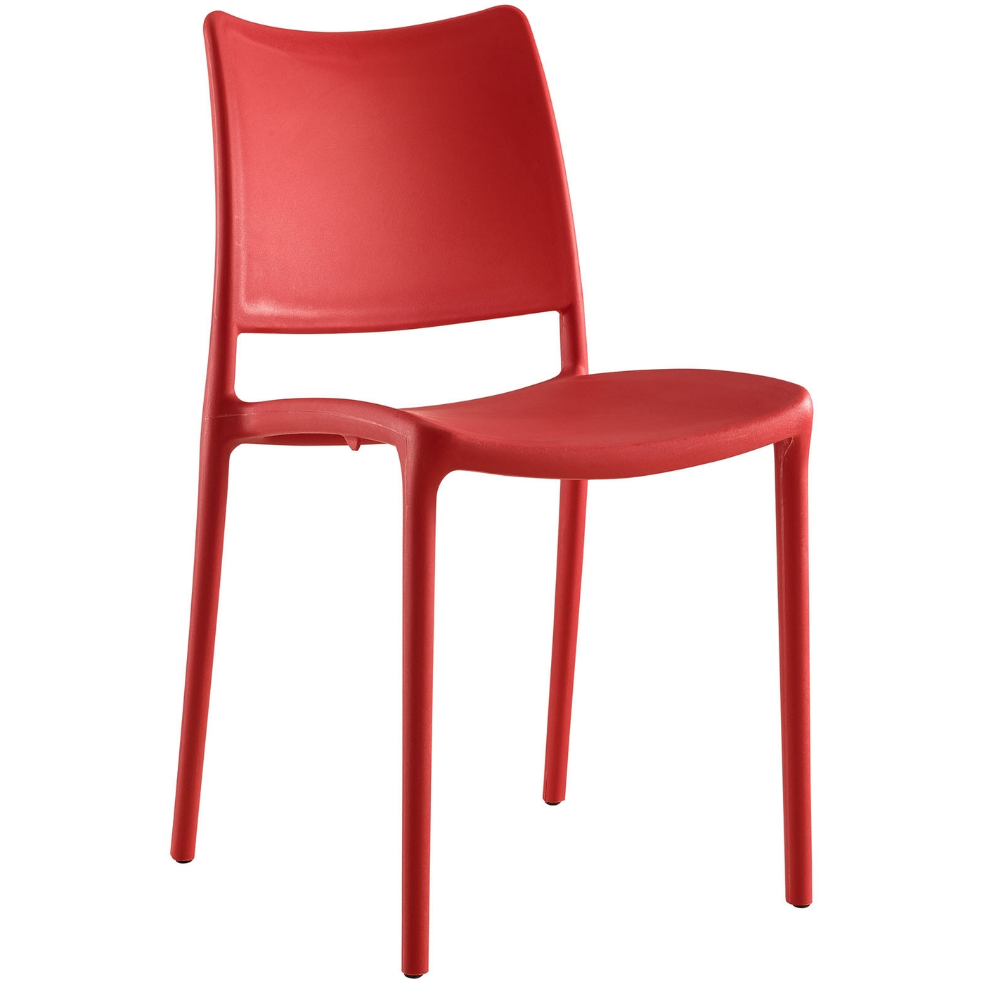 Hipster Contemporary Stackable Plastic Dining Side Chair Red