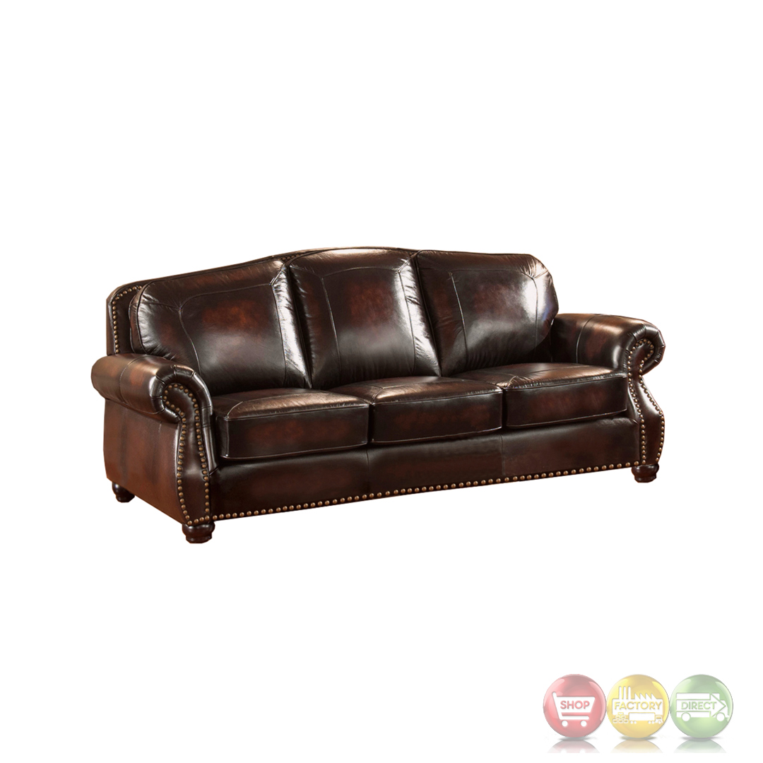Hyde Antique Burgundy Real Top Grain Leather 4pc Sofa Set