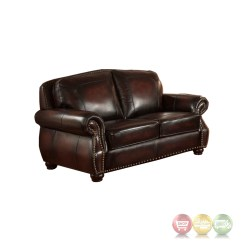 Real Leather Sofa Sets Sure Fit Stretch Stripe 2 Piece Slipcover Hyde Antique Burgundy Top Grain 4pc Set