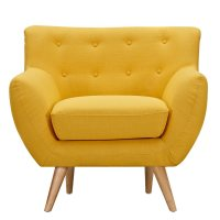 Ida Modern Yellow Button Tufted Upholstered Armchair w ...