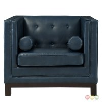 Imperial Modern Button-tufted Leather Armchair With Wood ...