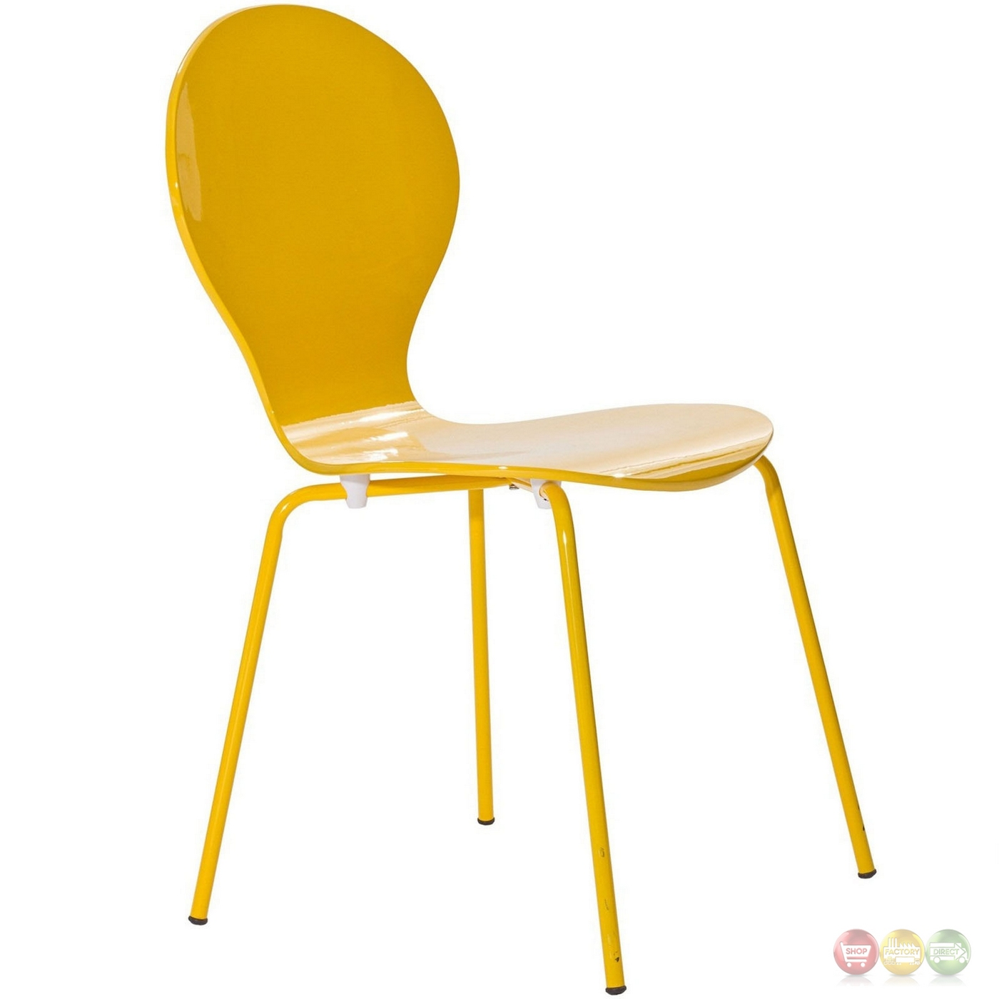 Yellow Side Chair Insect Modern High Gloss Wood Side Chair With Chrome Legs