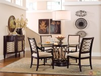 Intrigue Transitional Round Glass Top Table & Chairs ...