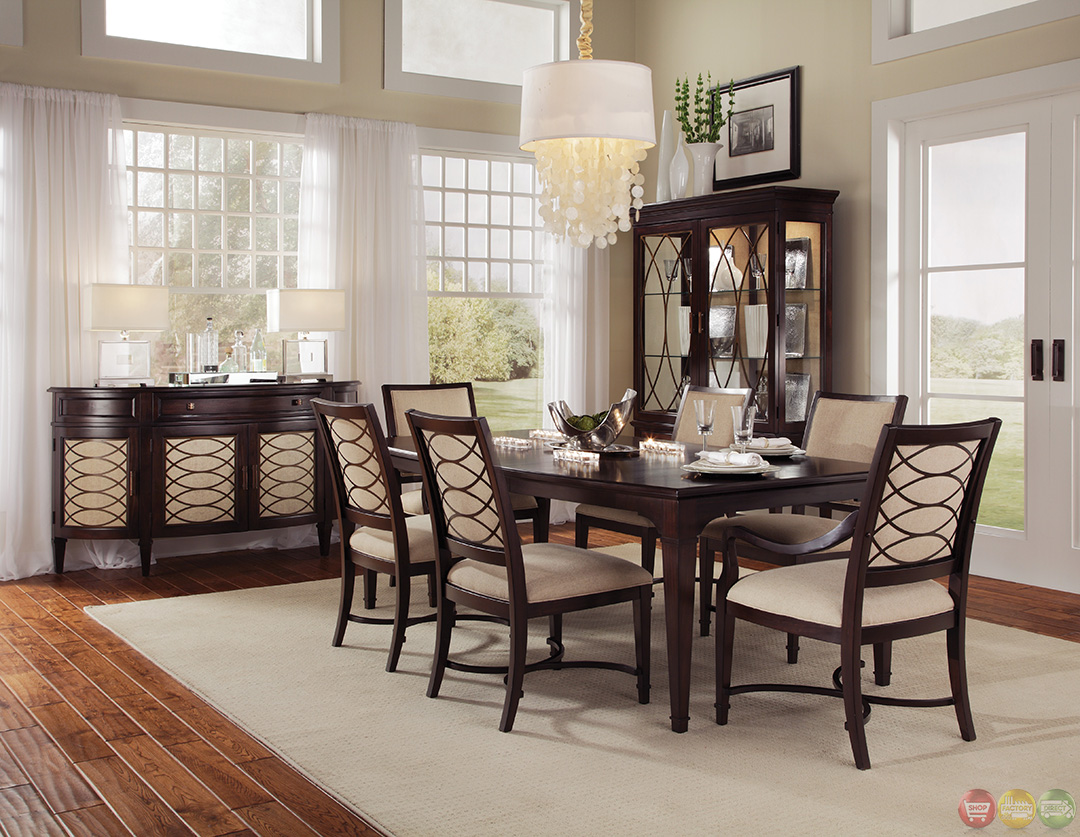 Intrigue Transitional Contemporary Dark Wood Formal Dining Furniture Set Upholstered Chairs