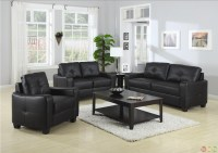 Jasmine Contemporary Black Bonded Leather Sofa and ...
