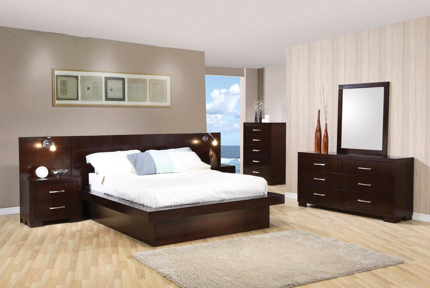 Jessica Modern Platform Cappuccino Finish Bedroom SetFree