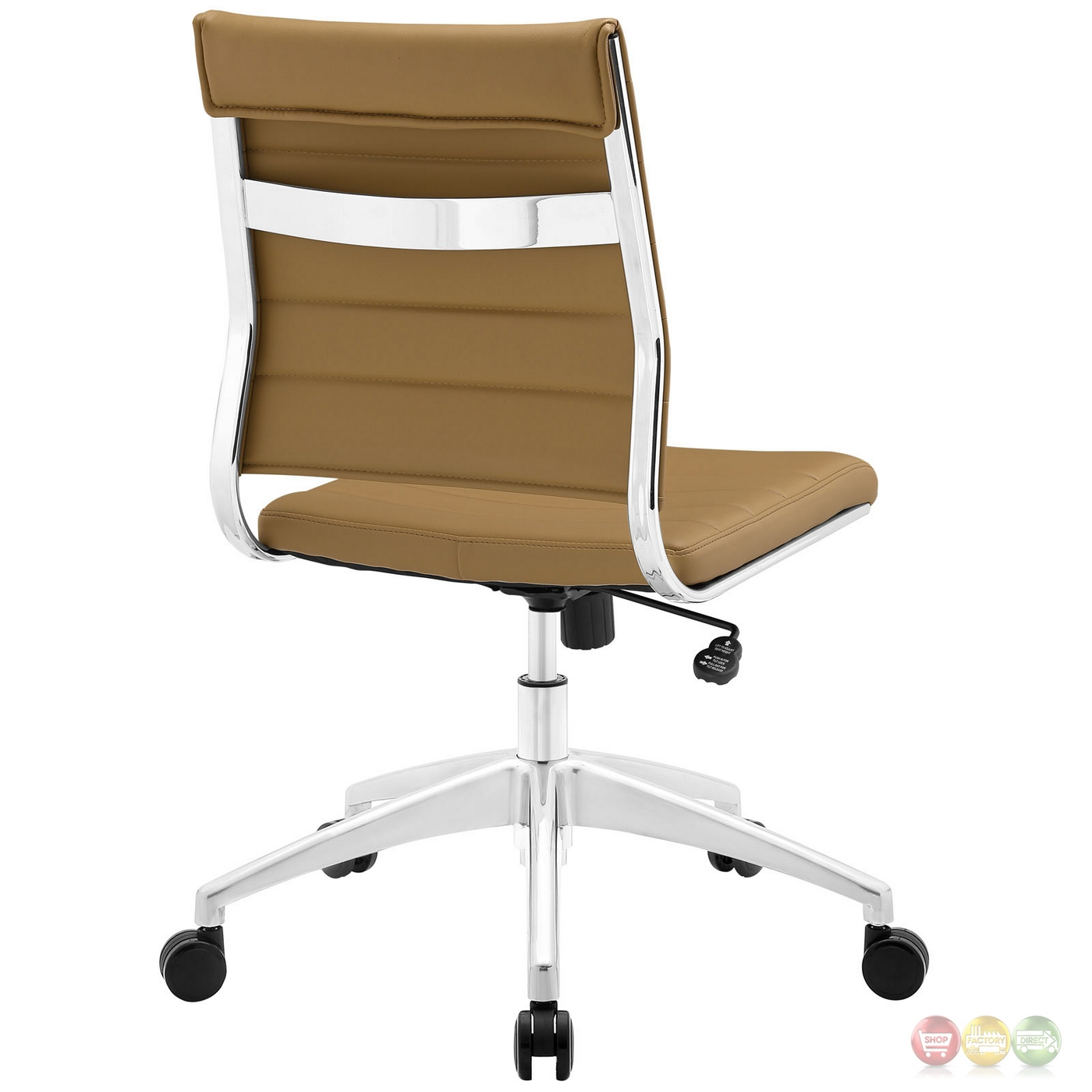 Tan Office Chair Jive Armless Upholstered Ribbed Vinyl Mid Back Office