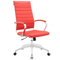 Red High Back Chair Foldable Wooden Chairs Jive Modern Ribbed Vinyl Office With