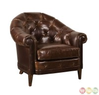 Kennedy Walnut Button Tufted Leather Chesterfield Chair