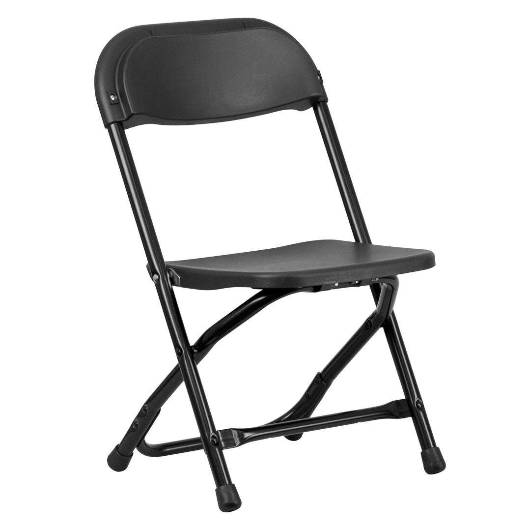 quality folding chairs cowhide kids black plastic chair y kid bk gg