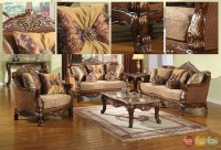 Traditional Style Formal Living Room Furniture Brown Sofa ...