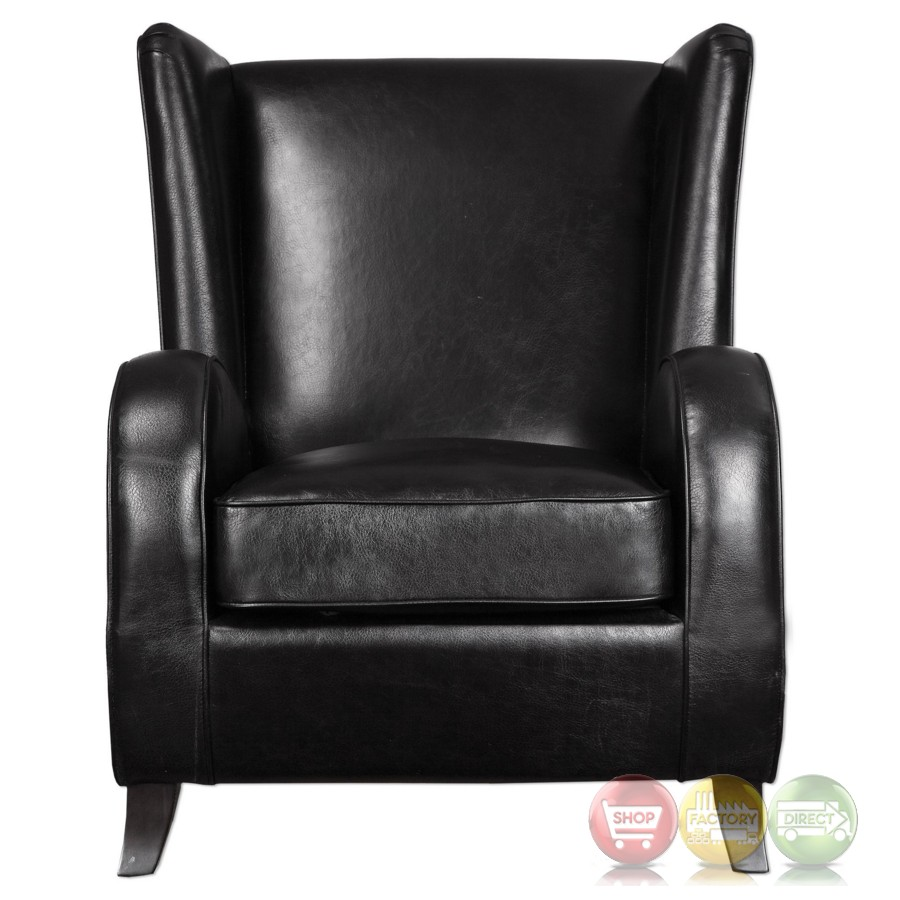 Lane Black Faux Leather Accent Chair With Wingback Design