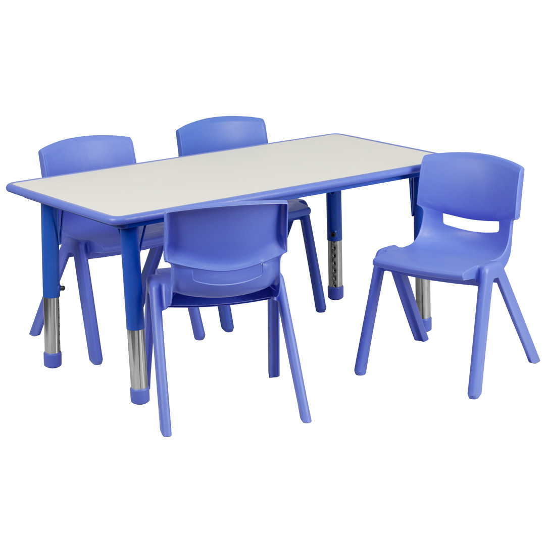 School Table And Chairs Large Blue Plastic Rectangle Adjustable School Table And 4